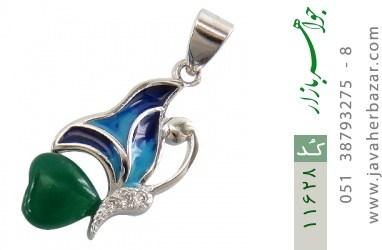 مدال عقیق سبز طرح پروانه زنانه - کد 11628