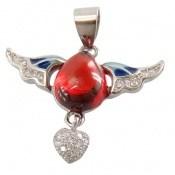 مدال نقره مینا کاری پرنده عشق زنانه