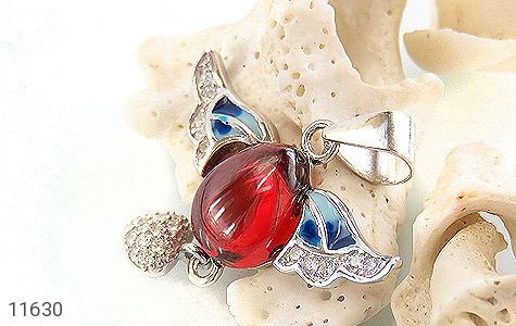 مدال نقره مینا کاری پرنده عشق زنانه - عکس 3