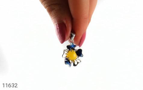 مدال عقیق زرد میناکاری گل زیبا زنانه - عکس 7