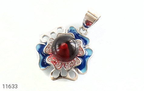 مدال نقره میناکاری طرح خجسته زنانه - عکس 1
