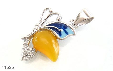مدال عقیق زرد میناکاری پروانه زیبا زنانه - عکس 1