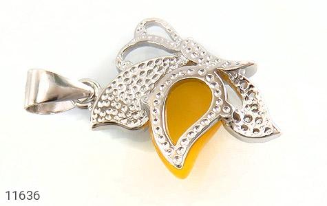 مدال عقیق زرد میناکاری پروانه زیبا زنانه - تصویر 2