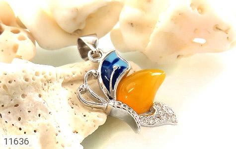 مدال عقیق زرد میناکاری پروانه زیبا زنانه - عکس 3