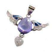 مدال نقره میناکاری پرنده عشق زنانه