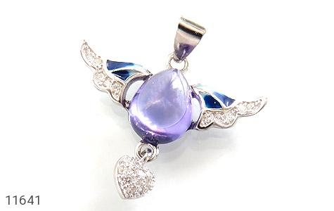 مدال نقره میناکاری پرنده عشق زنانه - عکس 1