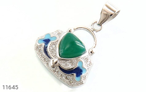 مدال عقیق سبز طرح میناکاری زنانه - عکس 1