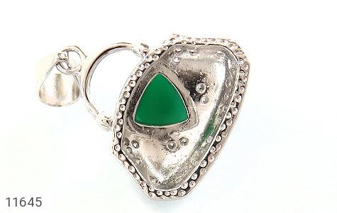 مدال عقیق سبز طرح میناکاری زنانه - تصویر 2