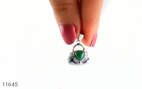 مدال عقیق سبز طرح میناکاری زنانه - عکس 5