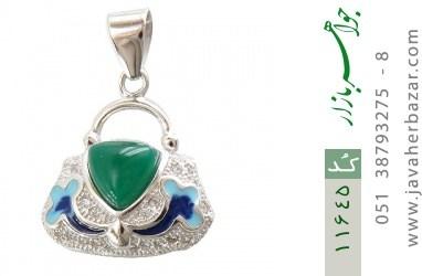 مدال عقیق سبز طرح میناکاری زنانه - کد 11645