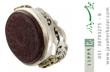 انگشتر عقیق یمن لوکس حکاکی و من یتق الله استاد قدر رکاب دست ساز - کد 11669