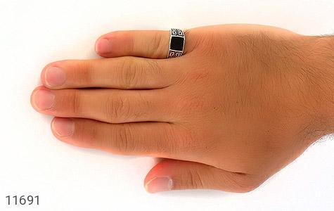 انگشتر عقیق سیاه طرح کلاسـیک مردانه - عکس 7