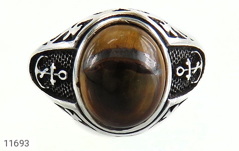 انگشتر چشم ببر طرح سیاه قلم مردانه - تصویر 2