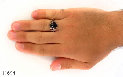 انگشتر عقیق سیاه جذاب کار ترک مردانه - عکس 7