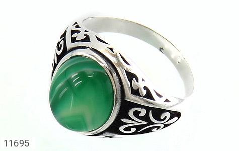 انگشتر عقیق سبز ابروبادی مردانه - عکس 1