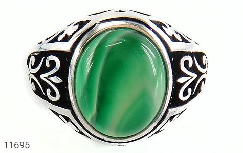 انگشتر عقیق سبز ابروبادی مردانه - تصویر 2