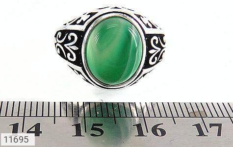 انگشتر عقیق سبز ابروبادی مردانه - تصویر 6