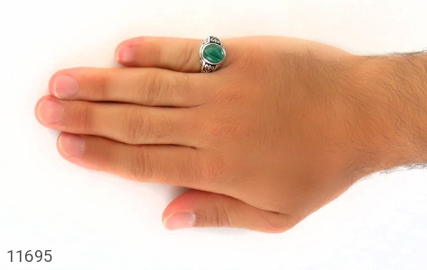انگشتر عقیق سبز ابروبادی مردانه - عکس 7