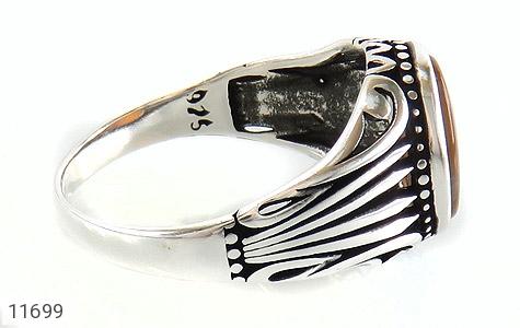 انگشتر عقیق راه راه طرح شیک مردانه - عکس 3