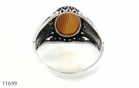 انگشتر عقیق راه راه طرح شیک مردانه - تصویر 4