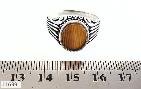 انگشتر عقیق راه راه طرح شیک مردانه - تصویر 6