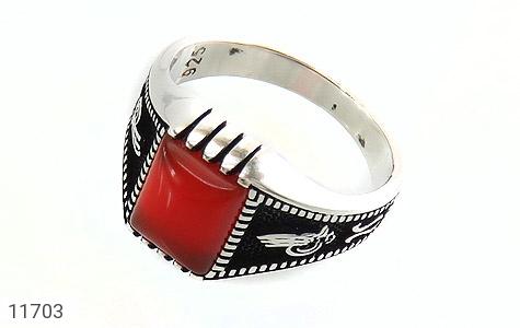 انگشتر عقیق قرمز سیاه قلم مردانه - عکس 1