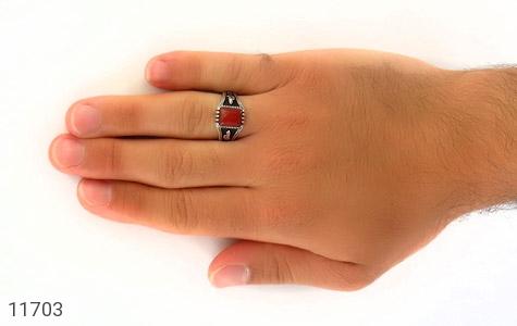 انگشتر عقیق قرمز سیاه قلم مردانه - عکس 7