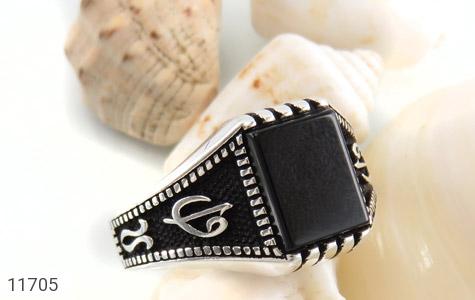 انگشتر عقیق سیاه طرح جذاب مردانه - عکس 5