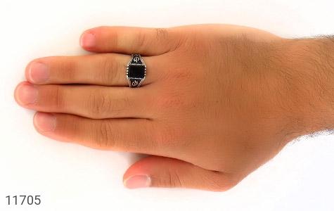 انگشتر عقیق سیاه طرح جذاب مردانه - عکس 7