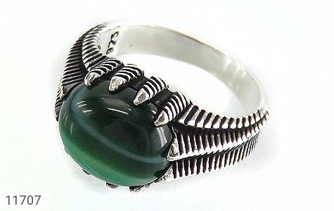 انگشتر عقیق سبز صفوی مردانه - عکس 1