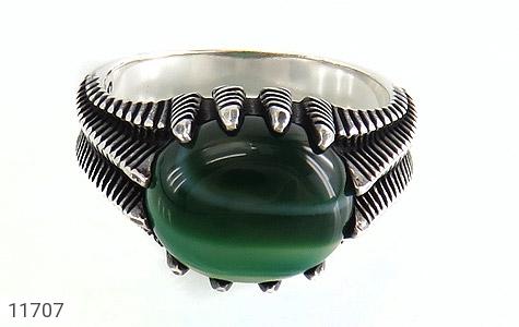 انگشتر عقیق سبز صفوی مردانه - تصویر 2