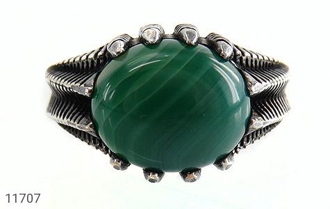 انگشتر عقیق سبز صفوی مردانه - تصویر 8