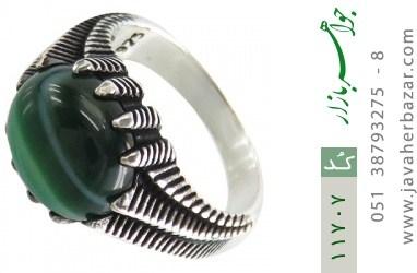 انگشتر عقیق سبز صفوی مردانه - کد 11707