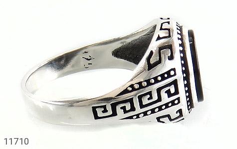 انگشتر عقیق سیاه کار ترک مردانه - عکس 3
