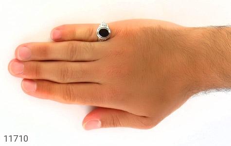 انگشتر عقیق سیاه کار ترک مردانه - عکس 7