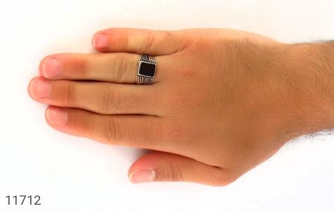 انگشتر عقیق سیاه کلاسیک مردانه - عکس 7