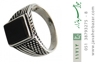 انگشتر عقیق سیاه کلاسیک مردانه - کد 11712