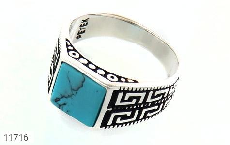 انگشتر فیروزه تبتی سیاه قلم مردانه - عکس 1