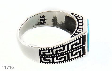 انگشتر فیروزه تبتی سیاه قلم مردانه - عکس 3