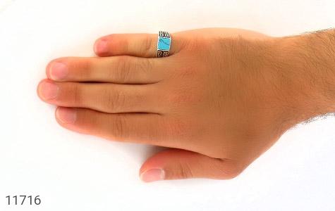 انگشتر فیروزه تبتی سیاه قلم مردانه - عکس 7