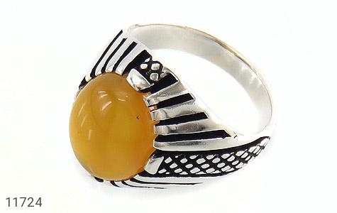 انگشتر عقیق زرد خوش رنگ مردانه - عکس 1