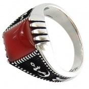 انگشتر عقیق قرمز طرح ناخدا مردانه