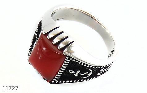 انگشتر عقیق قرمز طرح ناخدا مردانه - عکس 1
