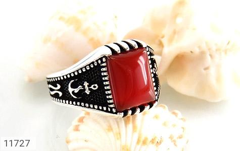 انگشتر عقیق قرمز طرح ناخدا مردانه - عکس 5