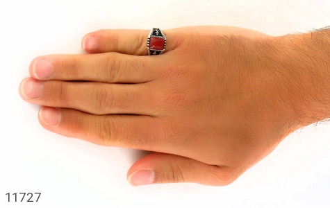 انگشتر عقیق قرمز طرح ناخدا مردانه - عکس 7