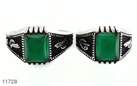 انگشتر عقیق سبز سیاه قلم مردانه - تصویر 2