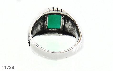 انگشتر عقیق سبز سیاه قلم مردانه - تصویر 4