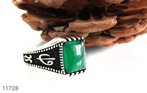 انگشتر عقیق سبز سیاه قلم مردانه - عکس 5