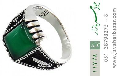 انگشتر عقیق سبز سیاه قلم مردانه - کد 11728