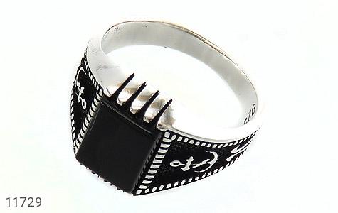 انگشتر عقیق سیاه طرح ناخدا مردانه - عکس 1